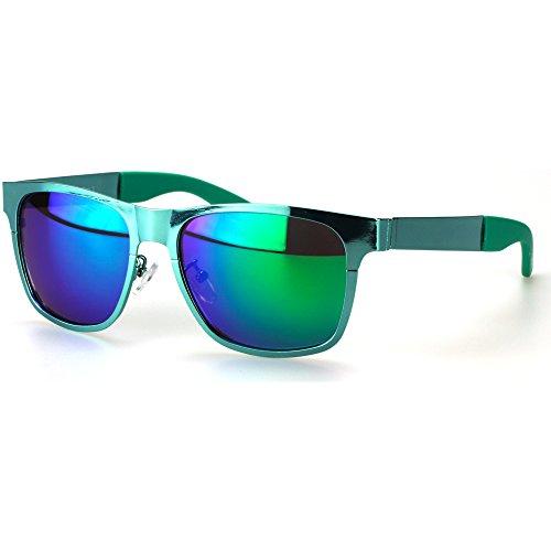 Sense42   Retro Sonnenbrille   Vintage-Look für Damen und Herren   verspiegelte Gläser   mit Federscharnier-Bügel   Metallrahmen  blau, gold, grün, orange, silber