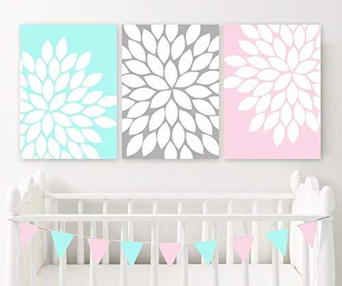 tian huan88 Pink Aqua Gray Wall Art, Baby Girl Nursery Art Canvas or Prints Pink Aqua Gray Flower Nursery Decor, Girl Bedroom Wall Decor, Set of 3 - Aqua Flower Girl
