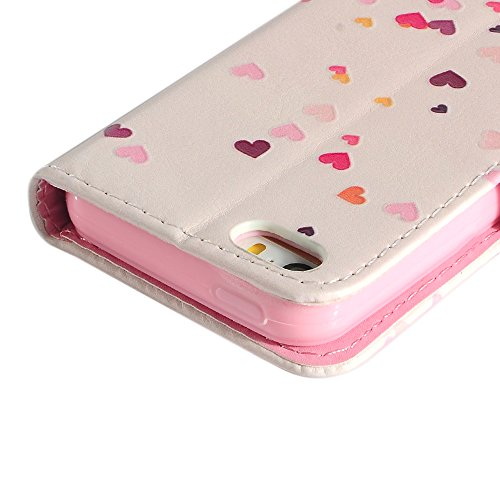 Lanveni Coque iPhone 5S / iPhone 5, Housse Étui Cuir PU à rabat pour iPhone 5S / iPhone 5 Cartes Slots Support Wallet,Phone Case de Protection pour iPhone 5S / iPhone 5- Fleurs Love Hearts