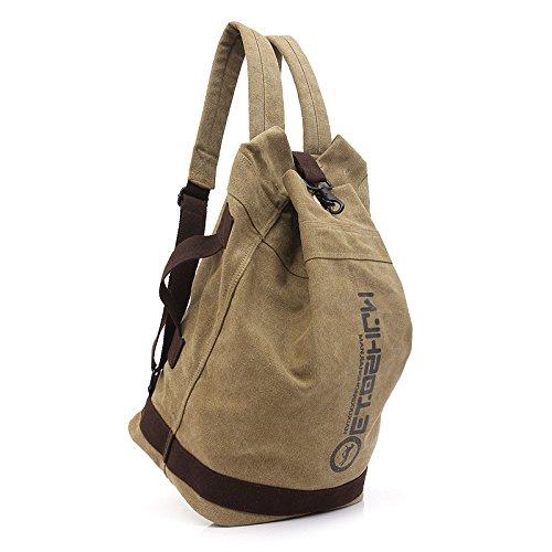Otomoll Bucket Bag Canvas Rucksack Rucksack Schultasche Coffee