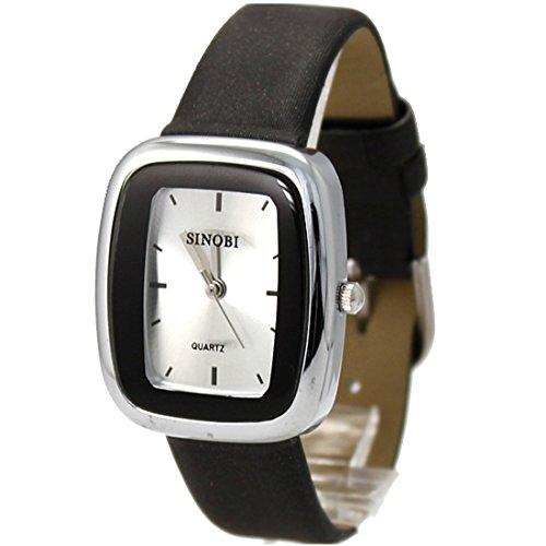 New Black Band Rechteck PNP glänzende silberne Uhrgehäuse-Frauen-Mode-Uhr