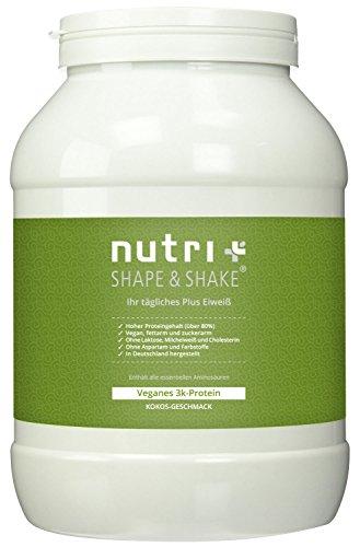 Nutri-Plus Shape & Shake Vegan Kokosnuss 1kg - Veganes Proteinpulver ohne Aspartam, Laktose & Milcheiweiß - Inkl. Dosierlöffel - Low-Carb Eiweiß Pflanzlichen Farbstoff Pulver