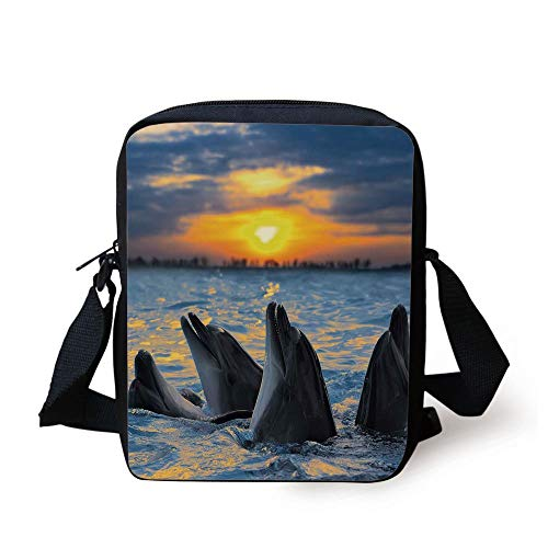 Animal,Photo of The Bottle Nosed Dolphins in Sunset Light Ocean Sea Animals Aquatic,Blue Grey Orange Print Kids Crossbody Messenger Bag Purse -