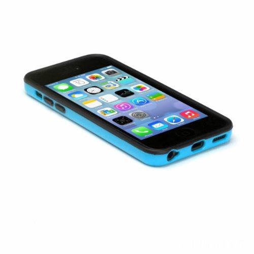 G4GADGET® Iphone 4S/4 Silicon Bumper White/Green 5CBlue/Black