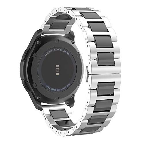 MoKo Armband Passend für Samsung Gear S3/Gear S3 Classic/Gear S3 Frontier/Galaxy Watch 46MM, Keramik Edelstahl Uhrenarmband Ersatzarmband Handgelenk Strap Band mit Werkzeug - Silber