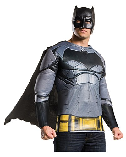 Batman v Superman Batman Muskel Shirt mit Maske & Umhang (Kostüme Muskel Superman)