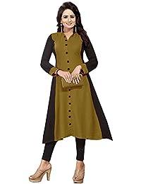 Muta Fashions Crepe Mehandi Green Women Kurti (KURTI352_Mehandi Green)