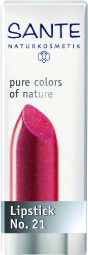 Pink Natural Lippenstift (SANTE Naturkosmetik Lipstick No. 21 coral pink, Lippenstift, Transparente bis intensive Farben, Zart pflegend & sanft schützend, 4,5g)
