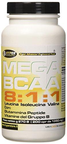Hyper Aminoacidi Ramificati MEGA BCAA 8:1:1 - con glutammina Peptide e Vitamine del gruppo B 200 Compresse