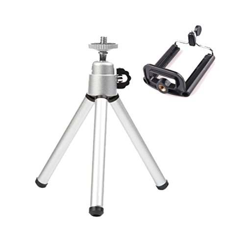 Mini Desktop Self - Tripod Stand With Phone Holder Mount Clip For Mobile Phones , Digital Camera , SLR Camera - Silver Color  available at amazon for Rs.199