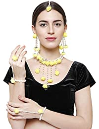 YouBella Jewellery Set for Women Floret Gota Patti Necklace, Earrings, Bracelet & Maang Tika for Women & Girls (Mehandi/Haldi)