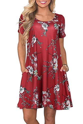 Sommerkleider Damen Casual Kurzarm T-Shirt Kleid Kurzen Blumen Bedrucktes Strandkleider mit Taschen, Weinrot, Large -