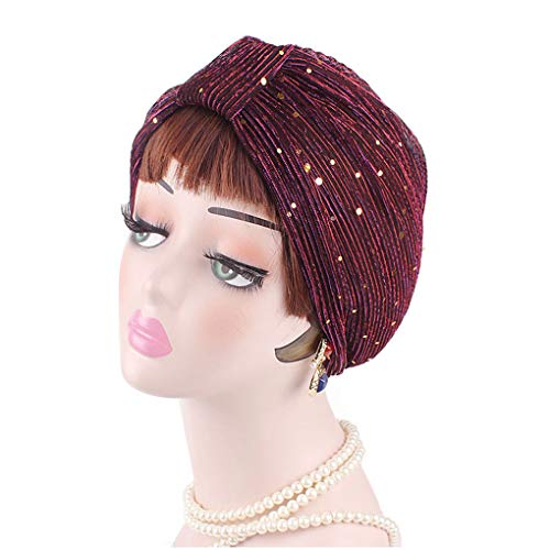 Meisijia Frauen-Polyester-Faser Sequin Indian Hut-Mädchen-Fotografie Turban Cap Frühling Herbst-Winter-Mütze - Hut Für Indian Mädchen