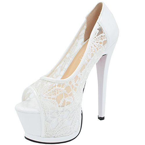 Oasap Lace High Slim Heel Peep Toe Platform Pumps White