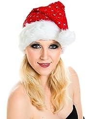 Weihnachtsmütze Nikolausmütze Dick Plüsch Rot Glitzer Mütze Santa Nikolaus Samt WM0101014_FBA