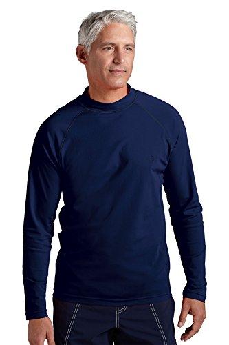 Coolibar Herren Rüschen Schwimmshirt UV-Schutz 50+ Shirt, Dunkelblau, XXL (Coolibar Shirt Schwimmen)