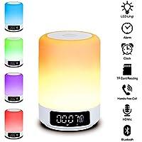 Beawelle Lámpara LED Luz de Noche Altavoz Bluetooth,todo-en-1 Portátiles Altavoces Inalámbricos con Regulable Control Táctil Lámpara de Mesa,música Despertador,altavoz Manos Libres, Tarjeta TF