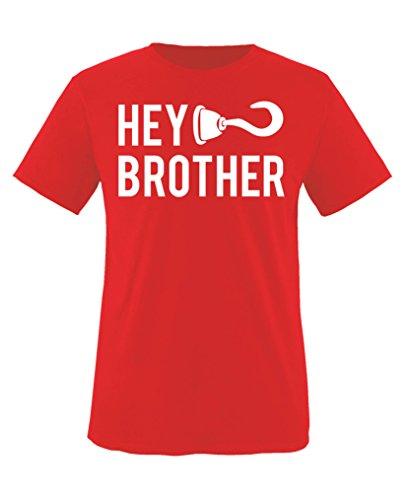 Comedy Shirts - Hey brother Haken - Mädchen T-Shirt - Rot / Weiss Gr. 134-146 (Hey Hey T-shirt Roten)