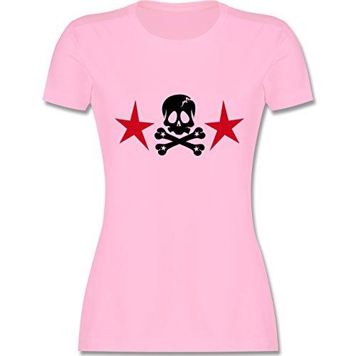 Piraten & Totenkopf - Totenkopf mit Sternen - tailliertes Premium T-Shirt mit Rundhalsausschnitt für Damen Rosa