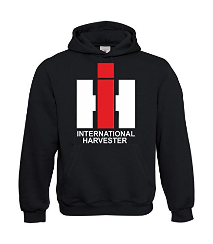 Textilmonster Kapuzenpullover - IHC (International Harvester) (L, Schwarz) -