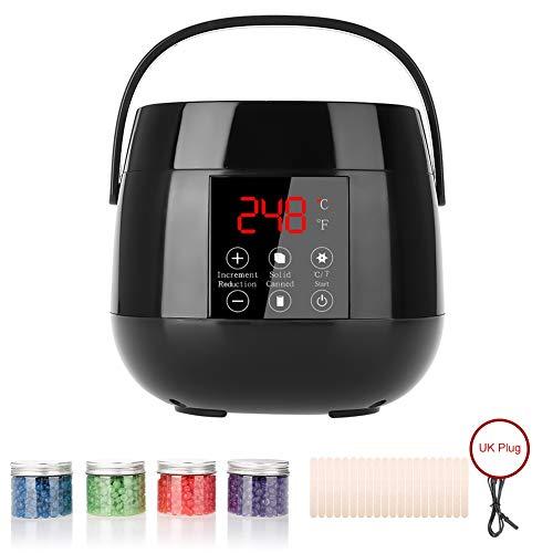 Kit ceretta depilazione con scaldacera, intelligent display a led riscaldatore di cera, lavanda, aloe, camomilla, fagioli alla fragola