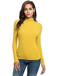 c451778e7bcd Italily donna Manica lunga Solido Slim Fit dolcevita Maglietta Superiore  Camicetta Maglia di a Maniche Lunghe