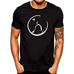 ZOMMING tee Zen Buddha Logo Hombre Camiseta Negro/Hombre T Shirts Negro