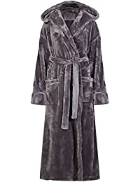 MARKS   SPENCER SHIMMERSOFT Autograph TIE Front Hooded Dressing Gown Robe  Grey 0e6ee0d9d