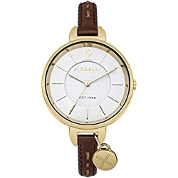 Fiorelli Women's Quartz Watch with White Dial Analogue Display and Brown Leather Strap FO004TG