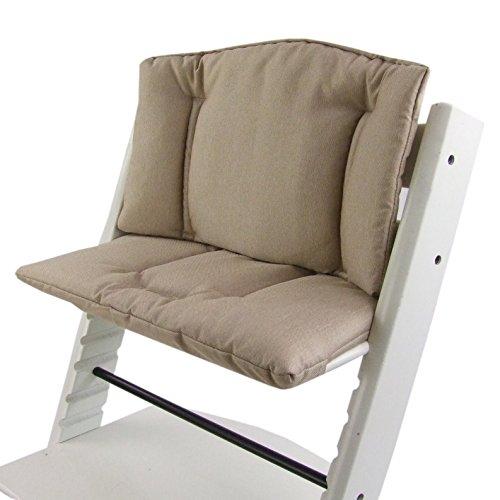 Imagen para BambiniWelt Cojín de asiento para trona Stokke Tripp Trapp, en 14colores, jaspeado, asiento de 2piezas, funda, cojín de repuesto beige beige