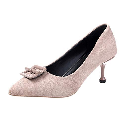 feiXIANG Damen Schuhe Stiletto Hohe Absatz Klassisch Tanzschuhe Sandaletten Vintage-Style Pumps (Khaki,35) - Klassische Krippe Schuhe