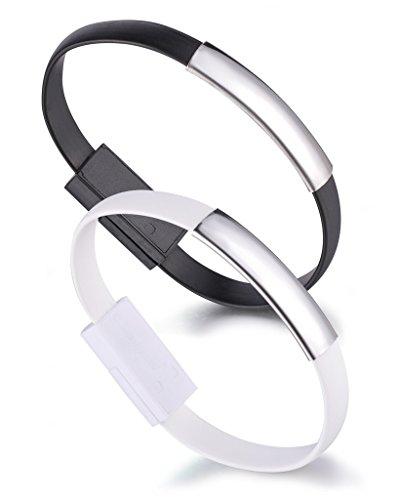 Yumilok Silikon Armband Ladekabel Datenkabel Micro USB Kabel für Android-Smartphones und Tablets mit Micro-USB-Anschluss, 2 Stücke(Schwarz, Weiß)