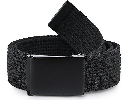 Ladeheid Cinturón de tela para hombre P10 (Negro-Negro, 120 cm (Largo total 130 cm))