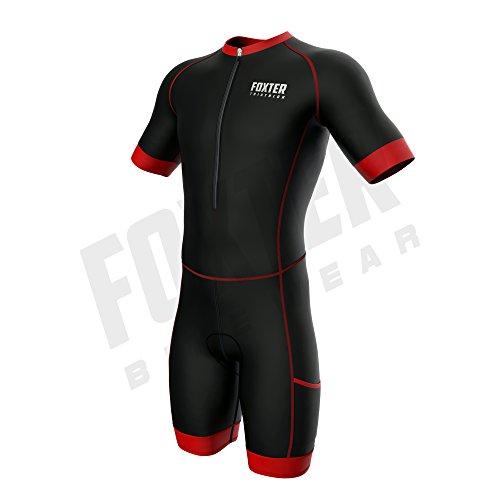 Foxter Herren Kompress Ärmeln Triathlon-Anzug Kurz Ärmel Race Tri Suit Aero Triathlon-Anzug Swim-Bike-Run, Schwarz/Rot, Large