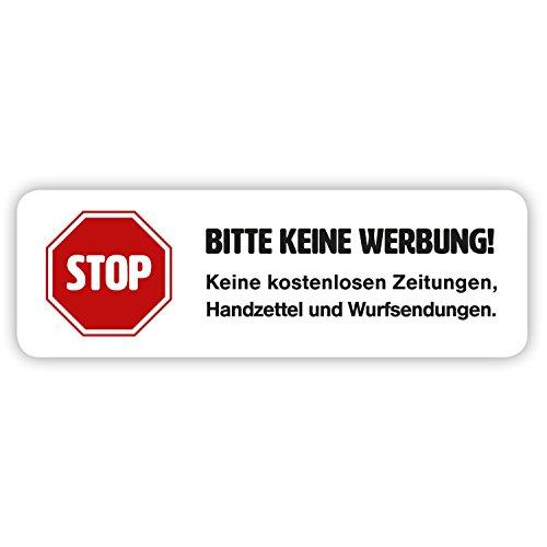 """Magnet-Schild """"Bitte keine Werbung!"""" in weiß für Ihren Briefkasten (2 Stück)"""