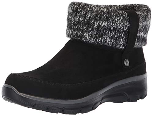 Skechers Easy Going-Heighten, Botines para Mujer, Microfiber/Knit Black, 5 EU
