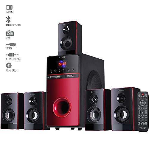 TV-7777BT, 5.1 Home Theater Speaker System Bluetooth, 20000 Watts PMPO Multimedia Surround Sound Theatre Speakers Subwoofer for Computer Pc TV Home Music 2018 Model (Karaoke Mic Support)