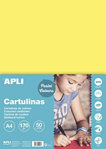 APLI 14231 - Cartulina amarillo claro A4 170 g 50 hojas