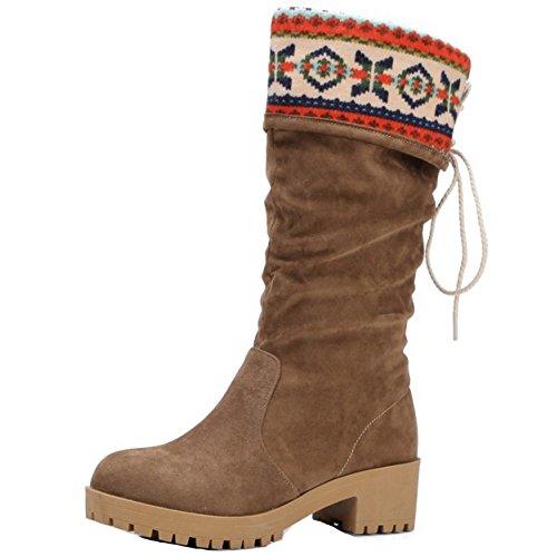 TAOFFEN Femmes Mode Talons Epais Mi-Mollet Bottes Automne Hiver A Enfiler Schuhe brown