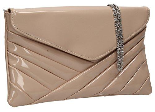 Girly HandBags Rosa Patent Glänzend Clutch Bag Unterarmtasche Umschlag übergroßen Lack Orchid Abend Flesh Rose -- Nude (Purse Glitter-abend-clutch)