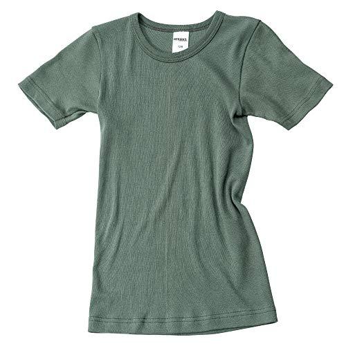 HERMKO 2810 Kinder halbarm Shirt aus 100% Bio-Baumwolle, Kurzarm Unterhemd für Mädchen und Knaben, Größe:128, Farbe:Olive
