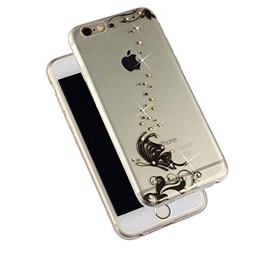 """MOONCASE iPhone 6S Plus Étui Clair Ultra-Mince Silicone Gel Glitter Bling Housse [Fleur] Coque de protection TPU Case pour iPhone 6 Plus / 6S Plus 5.5"""" XZ02"""