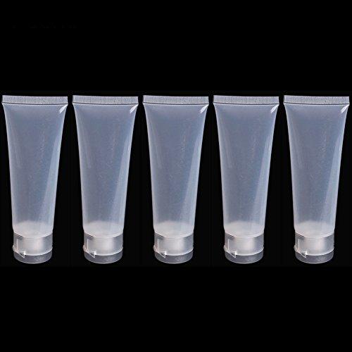 5x leere Cremetuben, zusammendrückbar, Kunststoff, für Reisen transparent durchsichtig 50 ml