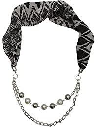 Black And Grey Stole Scarf Necklace With Chain For Women And Girls (3534)