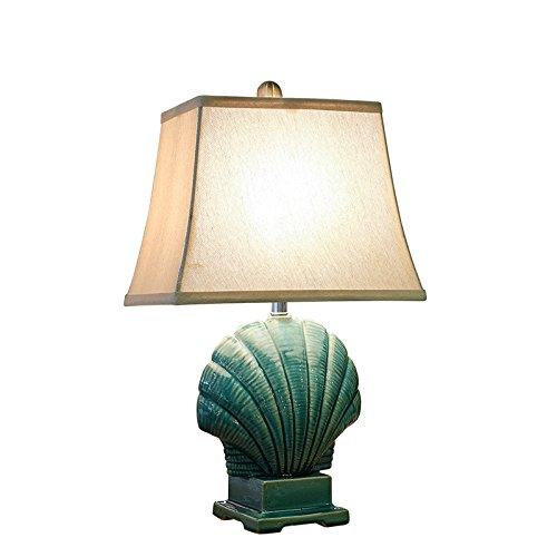Shell Garten (YFF@ILU Europäischen Blues Shell Garten Schlafzimmer Nachttischlampe Keramik Tischleuchte moderner, minimalistischer Dekoration kreative Mode)