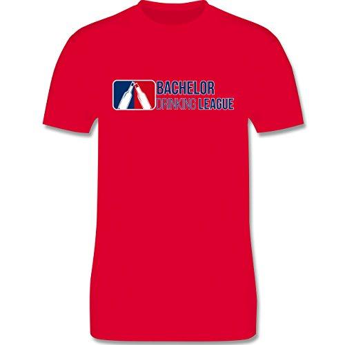 Shirtracer JGA Junggesellenabschied - Bachelor Drinking League - Herren T-Shirt Rundhals Rot