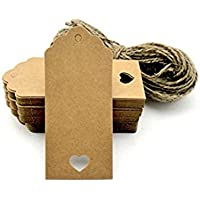 STONCEL 100pcs Gift Tags/Kraft Hang Tags with Free Cut Strings for Gifts Crafts and Price Tags Scalloped Tag Style Color Rectangular With Heart+20m Jute twine