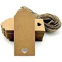 Lot de 100 étiquettes en Kraft avec étiquettes pour cadeaux bricolage découpe cordes prix festonné et étiquettes couleur rectangulaires avec pendentif en forme de cœur