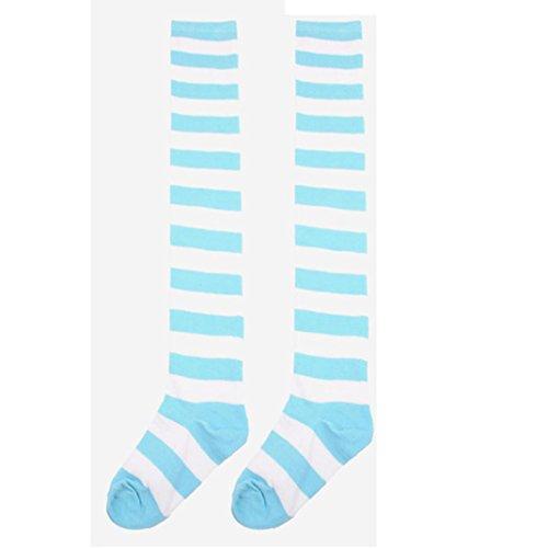 Damen Oberschenkel hohe Socken,Kingwo Elf gestreiften Weihnachten Phantasie lange Socken Socken Knie Beine dünne Röhre lange Socken (Blau) (Hoch Knie Dünne)