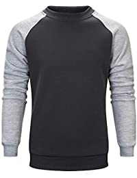 T-Shirt da Uomo di Moda Autunno Casual di Colore Allentato a Maniche Lunghe  Girocollo 7eae3c3857d6